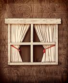 Retro Cabin Window with red tie on curtains, with an instagram look.