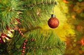 Christmas Tree With Red Ball And Tinsel