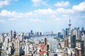 Shanghai Lujiazui Financial Center Aside The Huangpu River.