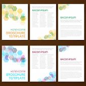 image of honeycomb  - Abstract vector modern flyer brochure design templates collection with colorful geometric honeycomb backgrounds - JPG
