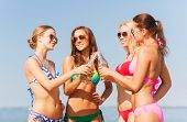 summer vacation, holidays, travel and people concept - group of smiling young women sunbathing and d