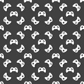 Gaming Joystick web icon. flat design. Seamless pattern.