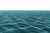 Digitally generated vast Blue ocean on white background