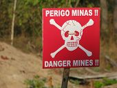 foto of landmines  - Land Mine markers used during demining actions in post war Angola - JPG