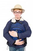 image of safari hat  - Funny student wearing safari hat - JPG