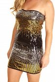 Close Up Sequin Dress Gold Black Silver
