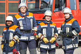 picture of firemen  - firefighter crew in uniform in front of fire engine machine and fireman team - JPG