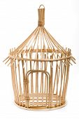 Light Wooden Bird Cage On White Background