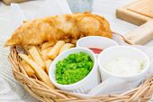 Fish and Chips with assorted sauce