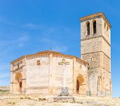 Panorama Veracruz medieval church, ancient templar church in Segovia, Spain.