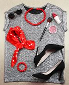 Fashionable female clothing and accessories