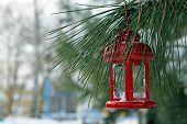 Decorative lantern hanging on fir tree branch on winter scene background