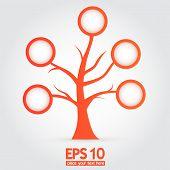 Vector orange tree with information bubbles