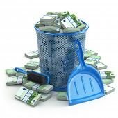 Packs of euro in the garbage can. Waste of money or currency collapse concept. 3d
