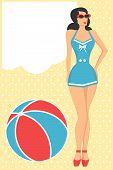retro girl in blue swimsuit standing next to the beach ball