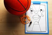 Scheme basketball game on sheet of paper with basketball on wooden table background