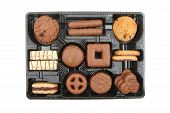 foto of biscuits  - Selection of sweet biscuits in a plastic tray isolated against white - JPG