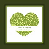 Vector abstract green natural texture heart symbol frame pattern invitation greeting card template