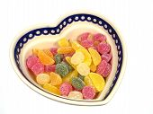 foto of laxatives  - Sugar candies  in a heart shaped bowl - JPG