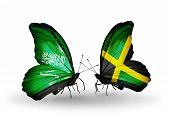 Two Butterflies With Flags On Wings As Symbol Of Relations Saudi Arabia And Jamaica