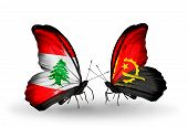 Two Butterflies With Flags On Wings As Symbol Of Relations Lebanon And Angola