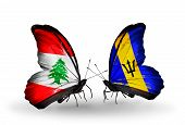 Two Butterflies With Flags On Wings As Symbol Of Relations Lebanon And Barbados