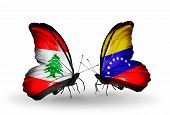 Two Butterflies With Flags On Wings As Symbol Of Relations Lebanon And Venezuela