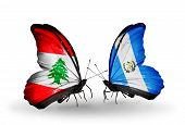 Two Butterflies With Flags On Wings As Symbol Of Relations Lebanon And Guatemala