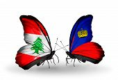 Two Butterflies With Flags On Wings As Symbol Of Relations Lebanon And Liechtenstein