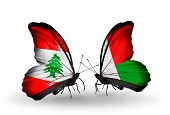 Two Butterflies With Flags On Wings As Symbol Of Relations Lebanon And Madagascar