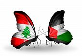 Two Butterflies With Flags On Wings As Symbol Of Relations Lebanon And Palestine
