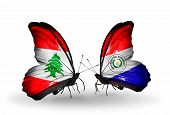 Two Butterflies With Flags On Wings As Symbol Of Relations Lebanon And Paraguay