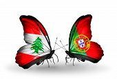 Two Butterflies With Flags On Wings As Symbol Of Relations Lebanon And  Portugal
