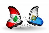 Two Butterflies With Flags On Wings As Symbol Of Relations Lebanon And San Marino
