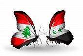 Two Butterflies With Flags On Wings As Symbol Of Relations Lebanon And Syria