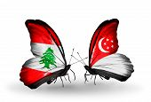 Two Butterflies With Flags On Wings As Symbol Of Relations Lebanon And Singapore