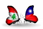 Two Butterflies With Flags On Wings As Symbol Of Relations Lebanon And Taiwan
