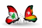 Two Butterflies With Flags On Wings As Symbol Of Relations Lebanon And Togo