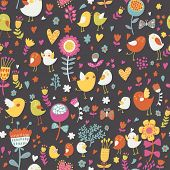 Cute seamless pattern with small birds and flowers. Spring vector background in bright colors. Seamless pattern can be used for wallpapers, pattern fills, web page backgrounds, surface textures.