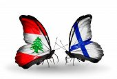 Two Butterflies With Flags On Wings As Symbol Of Relations Lebanon And Finland