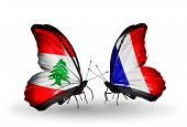 Two Butterflies With Flags On Wings As Symbol Of Relations Lebanon And France