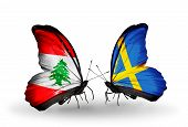 Two Butterflies With Flags On Wings As Symbol Of Relations Lebanon And Sweden