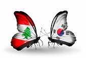 Two Butterflies With Flags On Wings As Symbol Of Relations Lebanon And South Korea