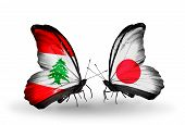 Two Butterflies With Flags On Wings As Symbol Of Relations Lebanon And Japan