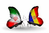 Two Butterflies With Flags On Wings As Symbol Of Relations Iran And Andorra
