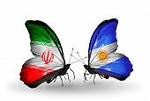 Two Butterflies With Flags On Wings As Symbol Of Relations Iran And Argentina