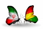 Two Butterflies With Flags On Wings As Symbol Of Relations Iran And Bolivia
