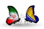 Two Butterflies With Flags On Wings As Symbol Of Relations Iran And Bosnia And Herzegovina