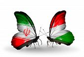 Two Butterflies With Flags On Wings As Symbol Of Relations Iran And Hungary