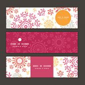 Vector folk floral circles abstract horizontal banners set pattern background
